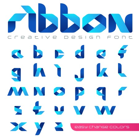 Ribbon Font vector Creative Design hitech style. ABC tape origami. Alphabet lowercase letters. Use for Logo.