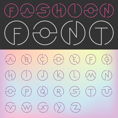 fashion design: Fashion Font vector Creative Design glamour style.  ABC Alphabet letters in circles. Use for Logo. Illustration
