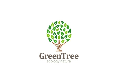 Green Tree Logo Abstract Circle shape design vector template.  Eco Green Farm Garden Logotype concept icon.