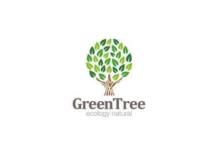 arbol de la vida: Logo Árbol Verde abstracto del círculo diseño en forma de la plantilla de vectores. Icono de concepto de Eco Green Farm Jardín de logo.