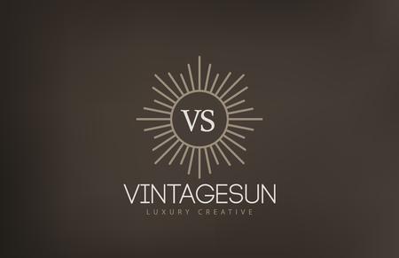Vintage Sun Logo design vector template.  Retro Circle with Rays Logotype concept icon.
