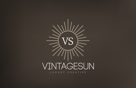 Vintage Sun Logo design vector template.  Retro Circle with Rays Logotype concept icon.