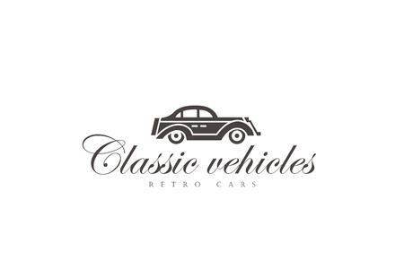 car service: Retro Car Logo abstract design vector template.  Vintage Vehicle Logotype concept silhouette icon. Illustration