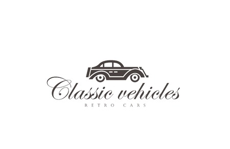 #45453261   Retro Car Logo Abstract Design Vector Template. Vintage Vehicle  Logotype Concept Silhouette Icon.