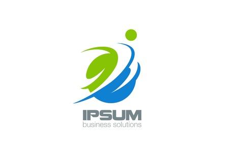 здравоохранения: Абстрактный Человек Логотип Бизнес технологии дизайн вектор шаблон. Человек Характер летать прыжки через мирового логотипа. Здоровье фитнес Спорт Концепция значок.
