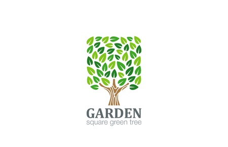 Green Tree Logo Square shape design vector template.  Eco Farm Logotype. Garden icon. Illustration