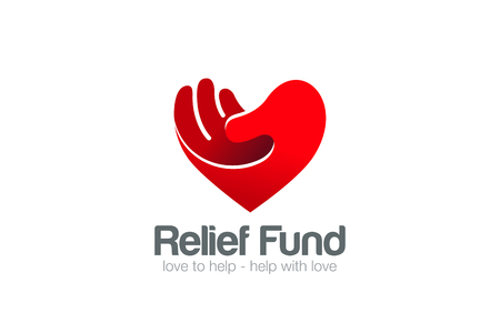 relief: Heart Hand Logo Relief Fund vector design template.  Take my Heart Love Valentine day concept Logotype icon.