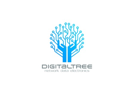 circuit boards: Digital Tree Logo Network technology business design vector template.  Chip Electronics logotype concept. Circuit circle icon.