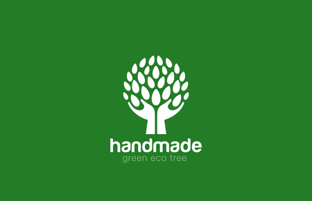 Hands Holding Tree with leaves Logo Abstract circle shape. Eco green natural Farm logotype concept icon. Illustration
