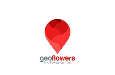 Geo pin Logo winkel van de bloem ontwerp vector template. Map navigatie symbool zoals steeg logo icoon. Stockfoto - 45455818
