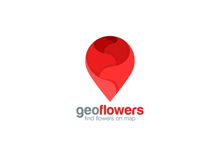 Geo pin Logo Flower shop design vector template.  Map Navigation symbol such as rose logotype icon.