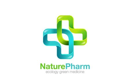 Medycyna Krzyż Logo Pharmacy naturalne eco design Clinic wektora szablonu. Medycyna opieki zdrowotnej Logotyp. Zielona ikona ekologii Healthcare.