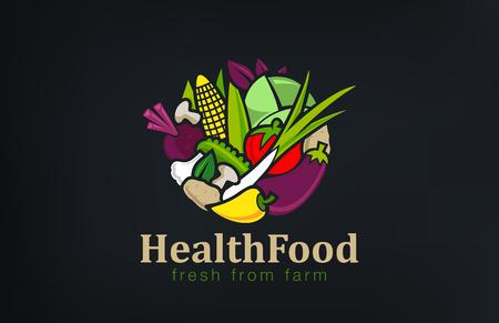 Vegetables mix Logo design vector template circle shape. Vegetarian food Logotype concept. Shop, Market concept idea 일러스트