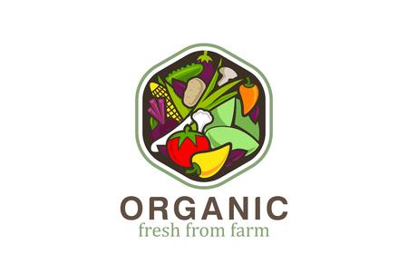 野菜のロゴ デザイン ベクトル テンプレート六角形。  ベジタリアン食品ロゴのコンセプト。ショップ、市場概念の考え