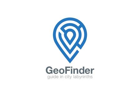 迷宮ロゴ Geo ポイント ナビゲーション ベクトル デザイン テンプレートです。場所 labirinth ロゴタイプとして地図記号。迷路図形地理的なアイコン