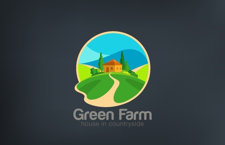 Green Farm Logo Villa ecology design vector template.