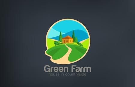 Green Farm Logo Villa ecology design vector template.  House in countryside Logotype Real Estate. Realty icon.