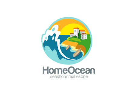 Villa on Sea Ocean Logo Travel design vector template.  Resort Logotype. Adventure trip icon. Real Estate concept.