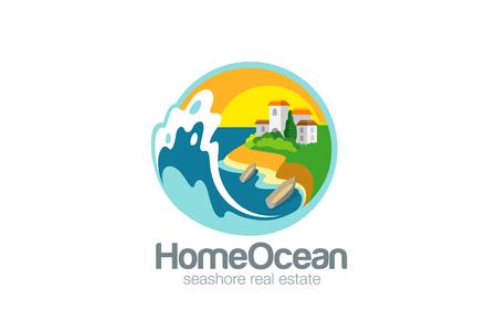 estates: Villa on Sea Ocean Logo Travel design vector template.  Resort Logotype. Adventure trip icon. Real Estate concept.