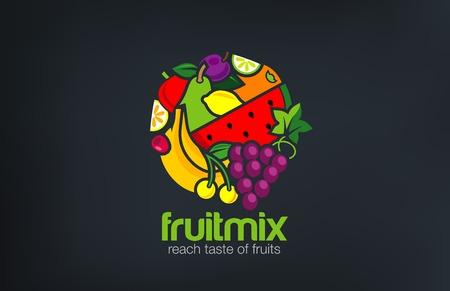과일 믹스 로고 디자인 벡터 템플릿 서클 모양입니다. 채식 음식 로고 타입 개념입니다. 상점, 시장 개념 아이디어