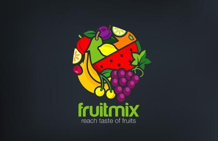 food market: Fruit mix Logo design vector template circle shape.  Vegetarian food Logotype concept. Shop, Market concept idea Illustration