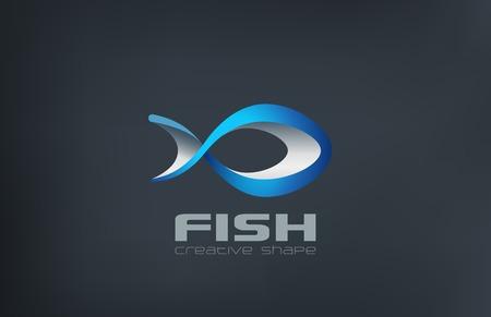Fisch-Logo abstrakten Design-Vorlage Vektor. Logotype Meeresfrüchte icon for Markt, Restaurant, Angelverein usw. Logo