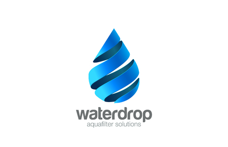 Oil Water drop Logo aqua vector template.  Waterdrop Logotype. Droplet 3d spiral shape design element. Çizim