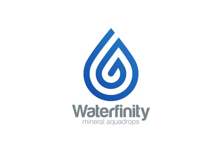 워터 드롭 로고 아쿠아 벡터 템플릿 라인 아트 스타일. 물방울 로고. 나선형 모양 디자인 요소를 방울입니다. 스톡 콘텐츠 - 45455966