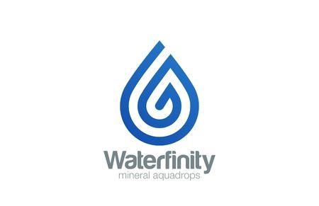 Water drop Logo aqua vector template line art style.  Waterdrop Logotype. Droplet spiral shape design element.