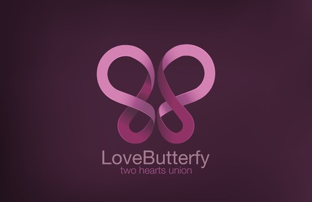 romantic sex: Butterfly Logo two Hearts crossing design vector template.  Love concept logotype. Romantic Sex icon. Illustration