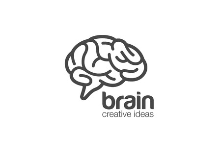 generate: Brain Logo design vector template. Generate idea.  Brainstorming logotype concept icon.