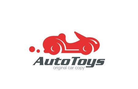 car service: Logo sport car retro funny design vector template.  Race and auto repair service Logotype. Vintage Vehicle silhouette icon. Illustration