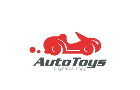 Logo sport car retro funny design vector template. Race and auto repair service Logotype. Vintage Vehicle silhouette icon.