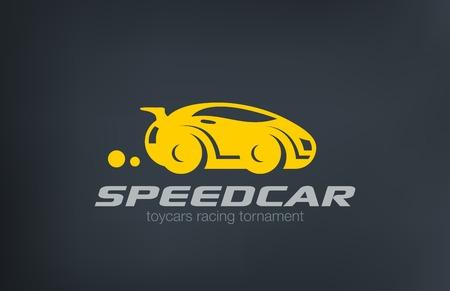 로고 스포츠 자동차 디자인 재미 있은 벡터 템플릿. 인종 및 자동차 수리 서비스 로고 타입. 차량 실루엣 아이콘입니다.