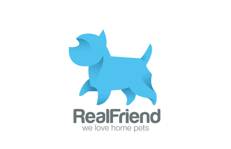 dog walk: Logo Dog Terrier Walking design vector template.  Logotype doggy friend. Home pet icon concept.