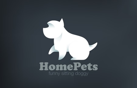 Logo Dog Terrier Sitting design vector template.  Logotype doggy real friend. Home pet icon concept.