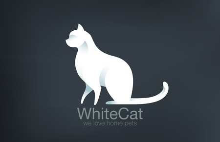 Logo Cat Sitting design vector template.  Logotype Kitty. Home pet icon concept.