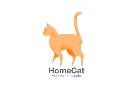 silueta de gato: Logo gato caminando plantilla de diseño vectorial. Logotipo del gatito de pie. concepto de icono mascota a casa.