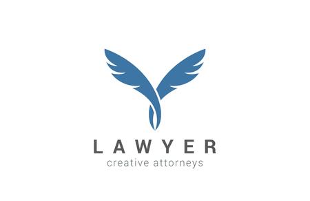 Plantilla Quill diseño vectorial Abogado Logo. Dos socios icono. Escritor Concepto de la educación pluma de la pluma de logo. Logos