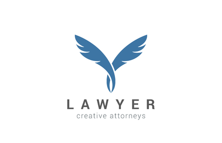 two companies: Quill Logo Lawyer design vector template. Two Partners icon.  Writer Education Feather Pen Logotype concept.
