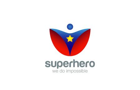 Super Hero Logo Abstract design vector template. Superhero character Leader Winner Logotype Concept icon. Vectores