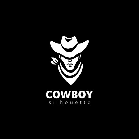 Silueta cabeza plantilla de diseño del logotipo del vector del vaquero. Western icono del logotipo de Avatar.
