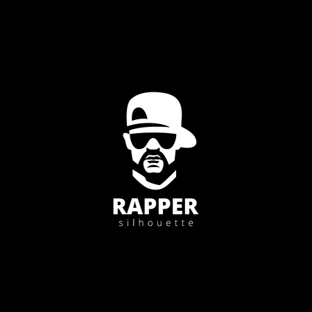 raps: Rapper head Silhouette Logo design vector template.  Gangster, Musician Guy Avatar Logotype icon.