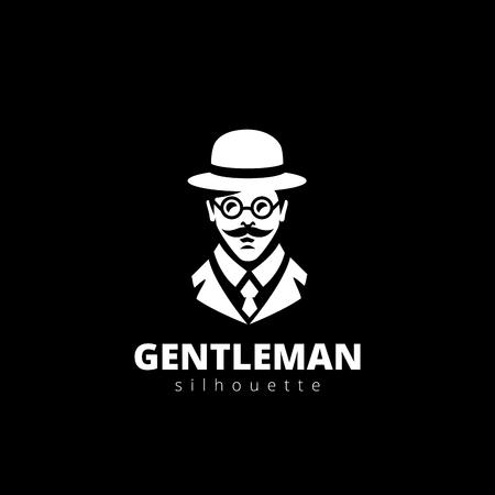 Gentleman head Silhouette Logo design vector template.  Professor, Citizen, Casual Businessman, doctor Avatar Logotype icon.