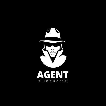 Agent head Silhouette Logo design vector template.  Detective, Spy, Thief Avatar Logotype icon.