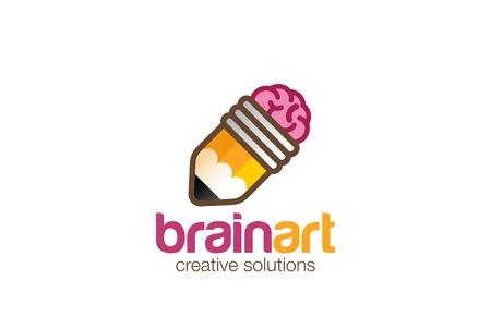 뇌 연필 로고 디자인 벡터 템플릿입니다. 창조적 인 아이디어 기호 아이콘입니다. 디자인 스튜디오, 브레인 스토밍, 기관, 아티스트 디자이너 로고.
