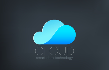 design solutions: Cloud computing Logo design vector template.  Creative technology data solutions logotype concept. Weather icon.
