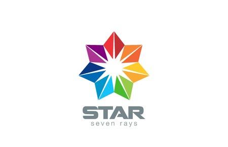 Seven point Star Logo abstract design vector template. Geometric Flower icon. Logotype for social, network, teamwork, community, friendship etc.