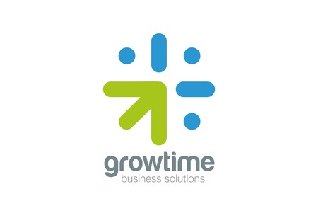 cultivate: Grow Arrow Clock Logo concept design vector template.  Time is money - time to grow - Business idea logotype icon.