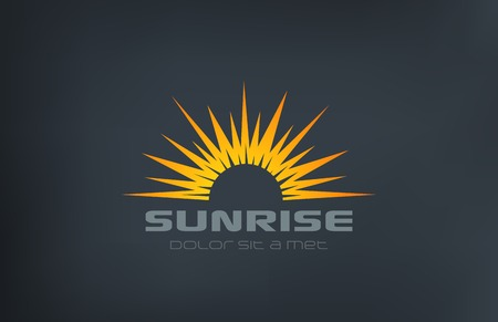 Sun Logo Vintage square shape design vector template.